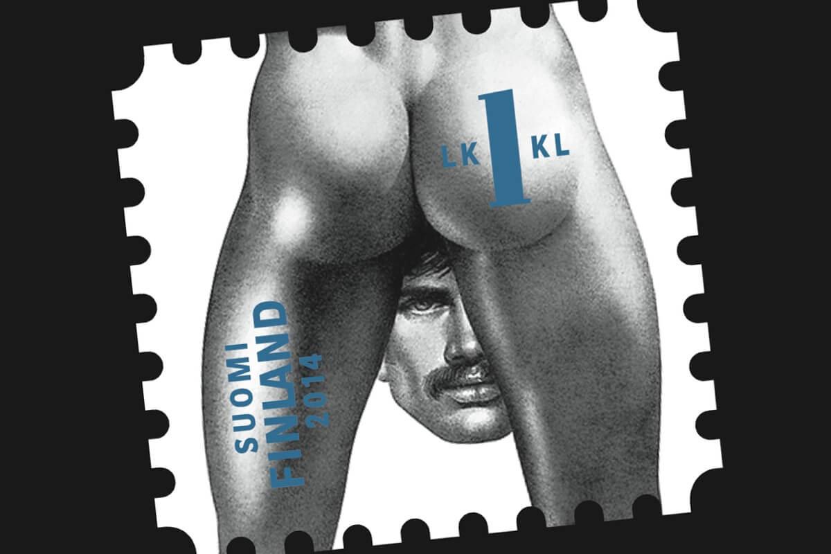 Briefmarke mit einer erotischen Männer-Zeichnung des finnischen Künstlers Tom of Finland